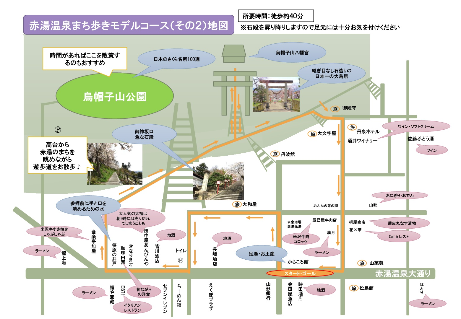 赤湯温泉まち歩きモデルコース(その2)地図